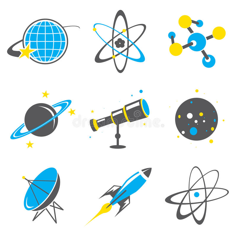 Wissenschaftsmaterialikone Universum-Sonnensystem-Planet Rocket Cartoon Vector vektor abbildung