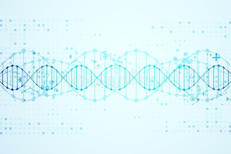 Wissenschaftsschablone, DNA-Molekülhintergrund lizenzfreie abbildung