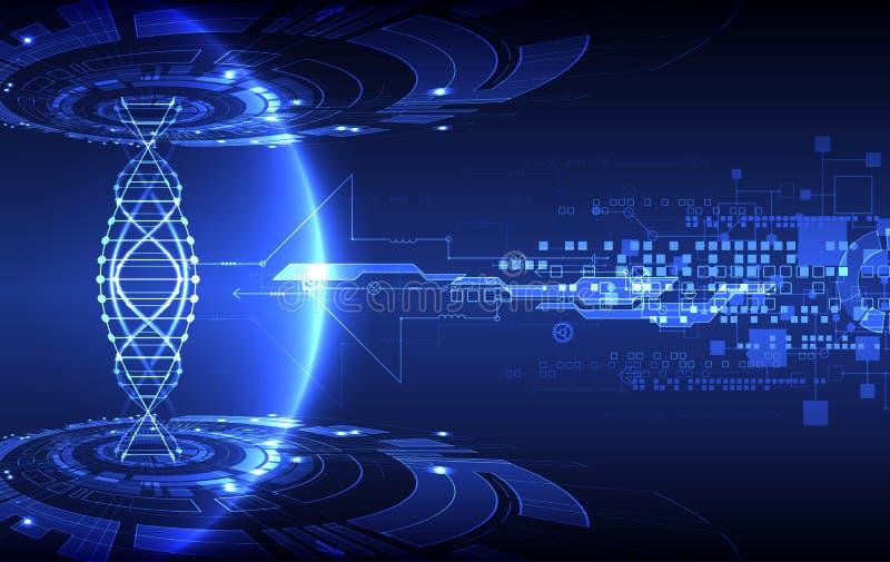 Wissenschaftsschablone, -tapete oder -fahne mit eine DNA-Molekülen stock abbildung