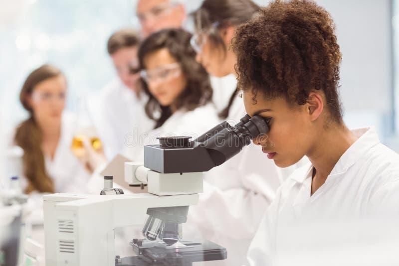 Wissenschaftsstudent, der durch Mikroskop im Labor schaut stockfoto