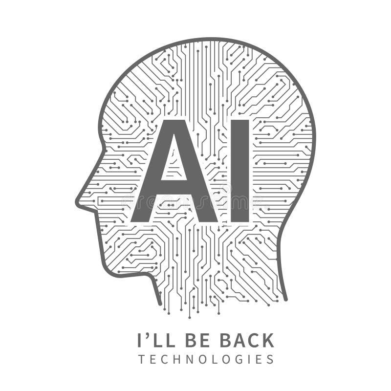 Wissenschaftstechnologie-Vektorhintergrund Technikkonzept der künstlichen Intelligenz mit Cyborgkopf lizenzfreie abbildung