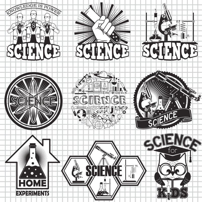 Wissenschaftsvektor-Aufkleberdesign Hauptexperiment und Wissenschaft für Kinder lizenzfreie abbildung