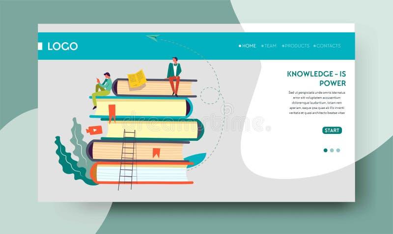 Wissensenergiewebseitenschablonen-Buchstapel vektor abbildung
