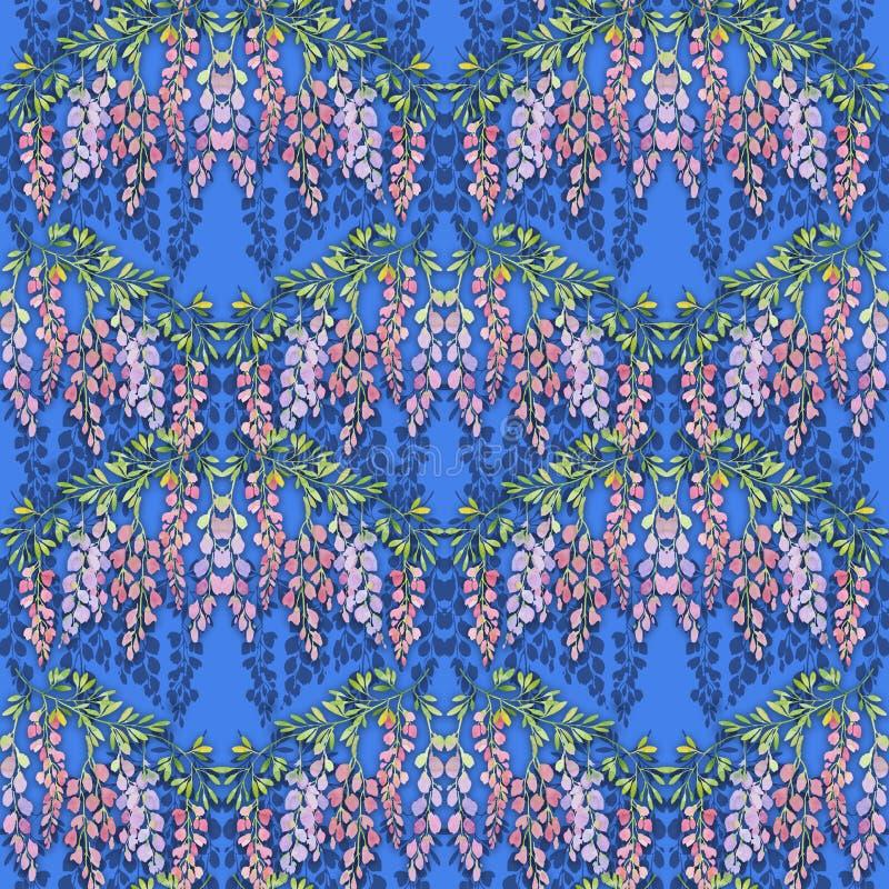 Wisteriaen blommar den sömlösa modellen på blå bakgrund, vattenfärgillustration stock illustrationer