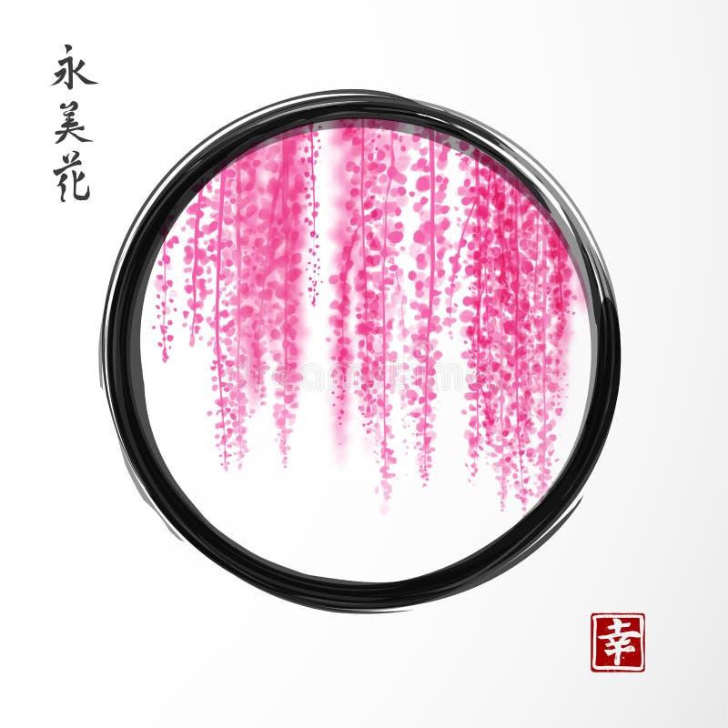 Wisteriahand som dras med färgpulver i svart ensozencirkel på vit bakgrund Traditionell orientalisk färgpulvermålningsumi-e, u royaltyfri illustrationer