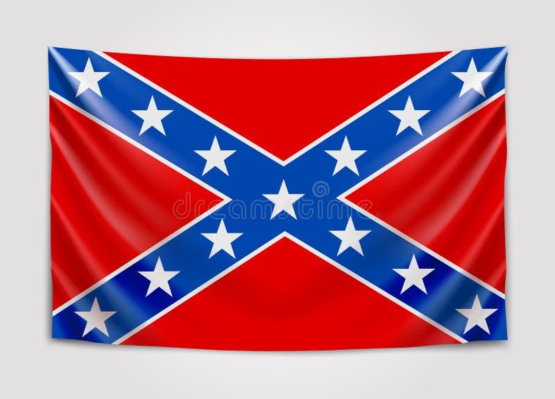 Wisząca flaga konfederat konfederata stanów ameryki Flaga państowowa pojęcie ilustracja wektor