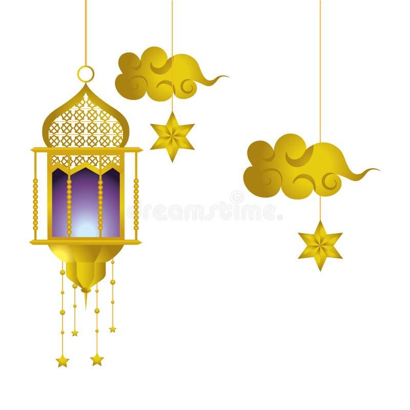 Wisząca lampa i chmura royalty ilustracja