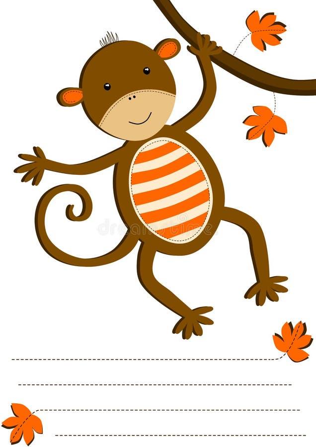 Wisząca Małpia zaproszenie karta ilustracja wektor