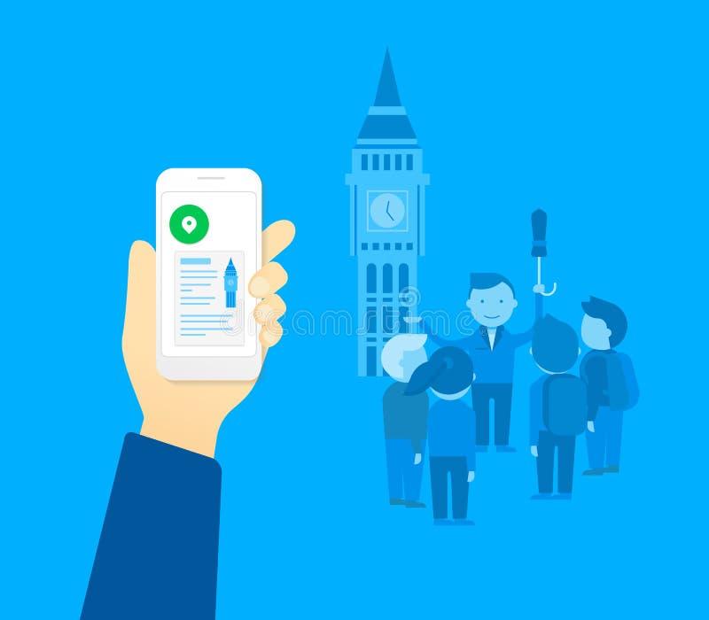 Wisząca ozdoba app dla turysty ilustracja wektor