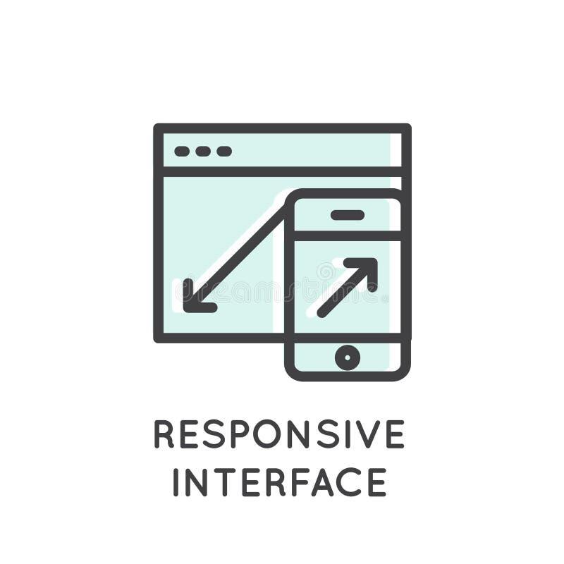 Wisząca ozdoba, App rozwoju procesy, narzędzia, Wyczulony interfejs, laptop, wisząca ozdoba i pastylka, ilustracji