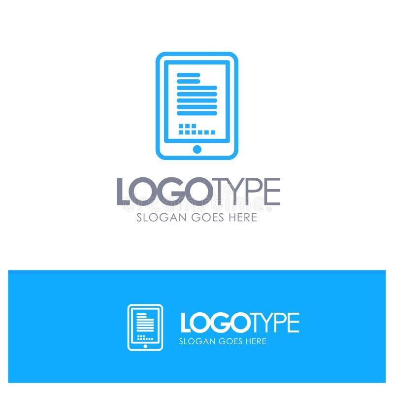Wisząca ozdoba, cyfrowanie, narzędzia, komórka Błękitnego logo Kreskowy styl royalty ilustracja