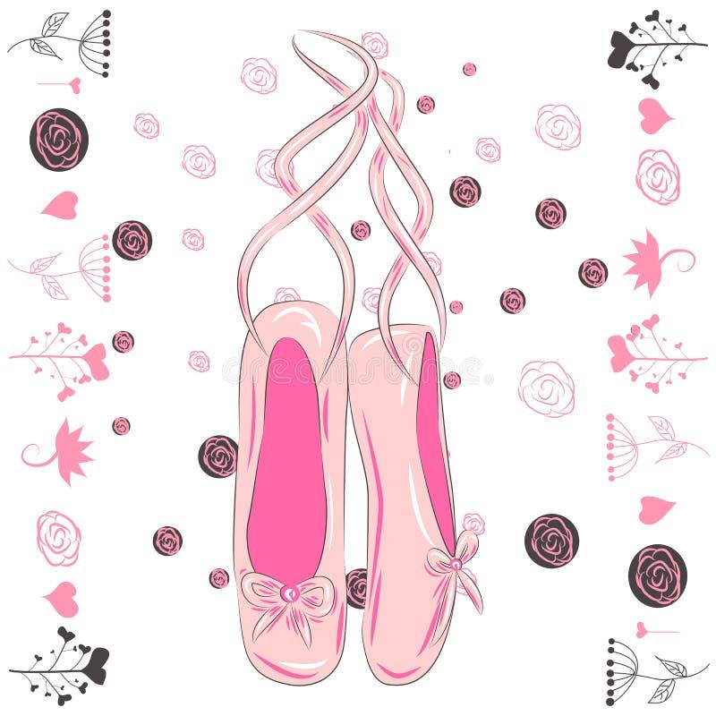 Wisząca różowa baletniczych butów ilustracja robić w konturu stylu royalty ilustracja