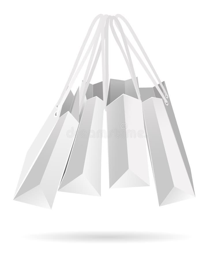 Wiszące białe papierowe torby ilustracji