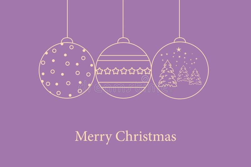 Wiszące Bożenarodzeniowe piłki na fiołkowym purpurowym tle z Wesoło bożych narodzeń tekstem ilustracja wektor