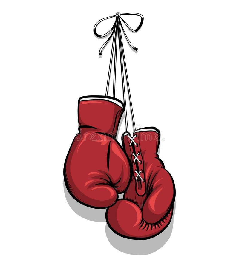 Wiszące bokserskie rękawiczki wektorowe ilustracja wektor