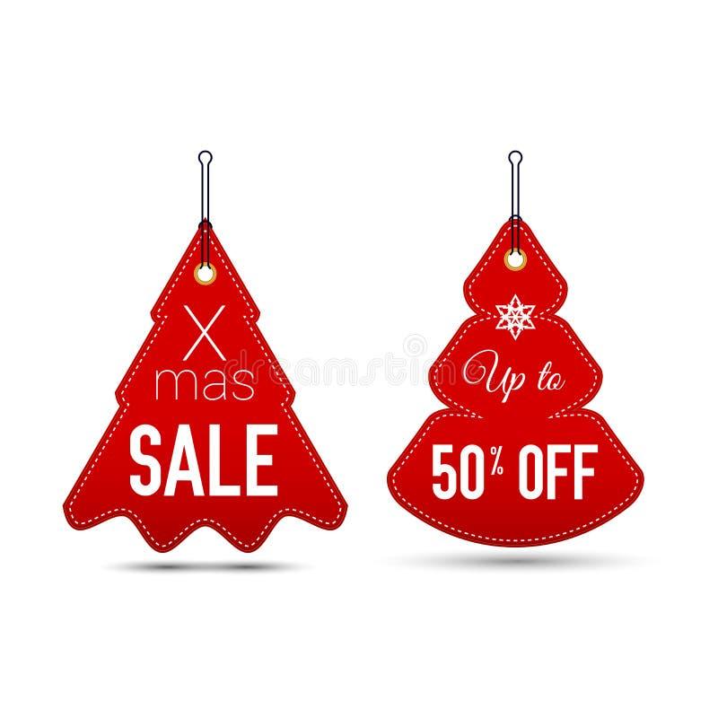 Wiszące Proste choinki Boże Narodzenia i nowy rok sprzedaży symbole r?wnie? zwr?ci? corel ilustracji wektora ilustracja wektor
