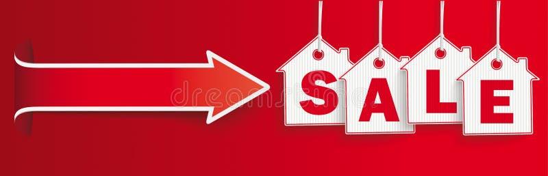 Wiszącej cena domu majcherów sprzedaży chodnikowa konwertyty Czerwona strzała ilustracja wektor