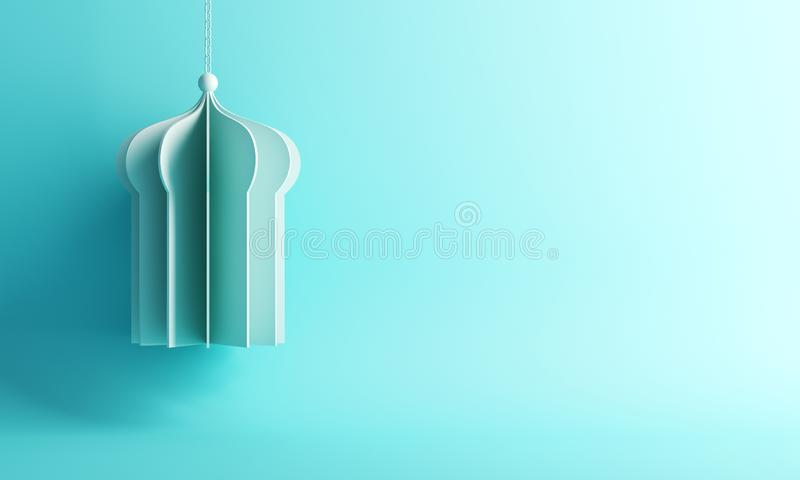 Wiszący arabski okno lub meczetu papier ciiemy na błękitnym pastelowym tle royalty ilustracja