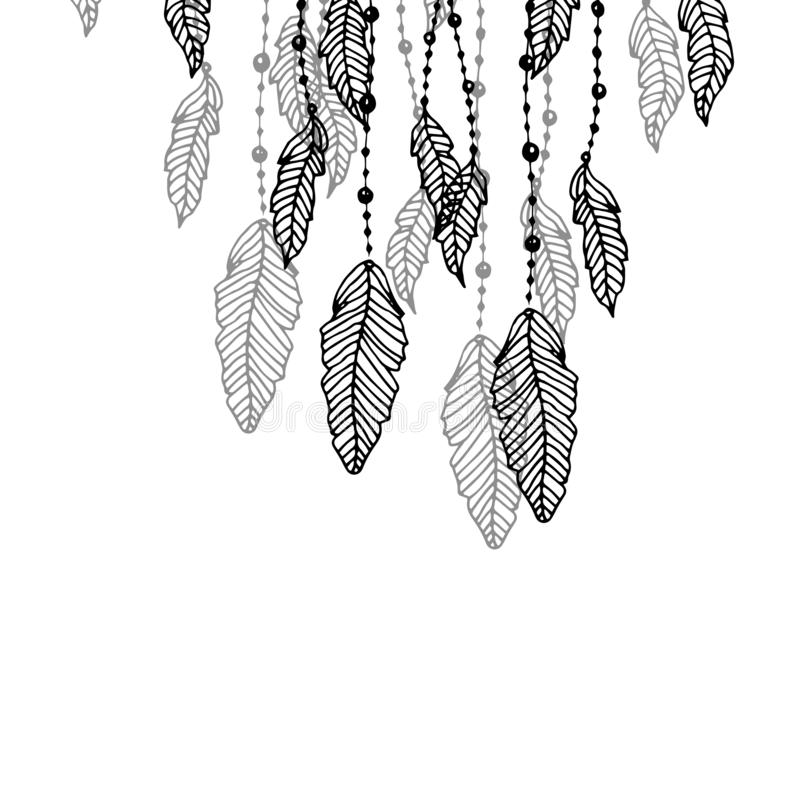 Wiszący czarny i popielaty stylizowany doodle upierza, odizolowywał na bielu, ilustracja wektor