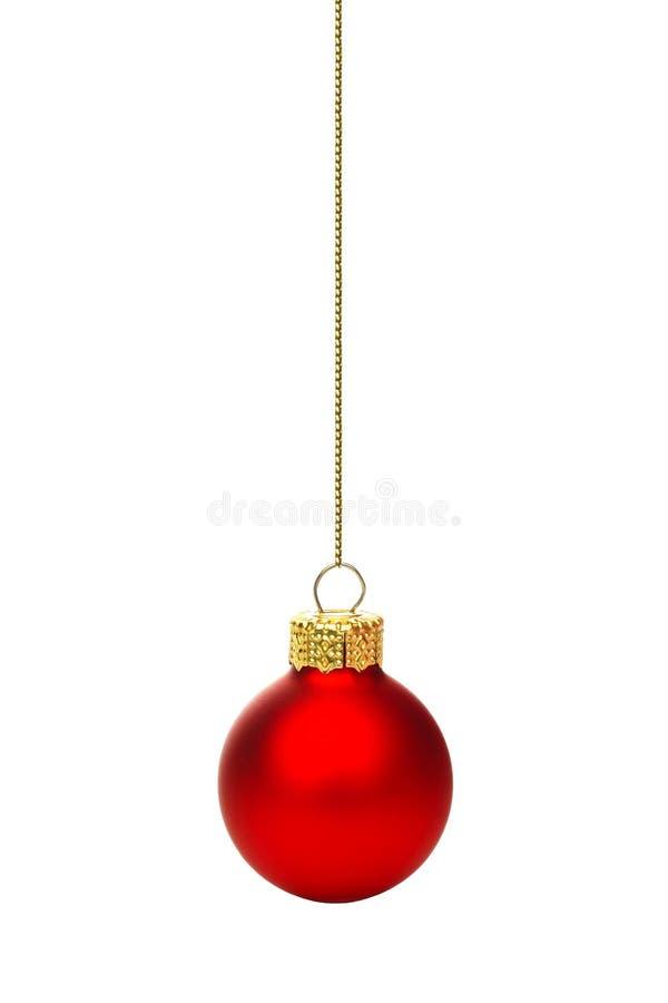 Wiszący czerwony boże narodzenie ornament odizolowywający obraz royalty free