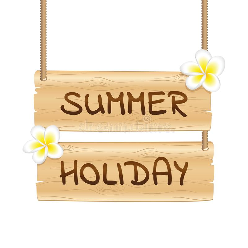 Wiszący drewniany śpiewa wakacje letni z frangipani tropikalnymi kwiatami ilustracji