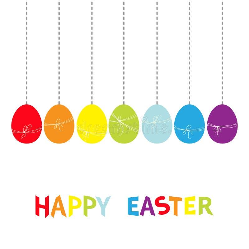 Wiszący kolor malujący tęczy jajka set Szczęśliwy Wielkanocny kolorowy tekst Niciany łęk Junakowanie linia Siedem maluje jajeczna ilustracji