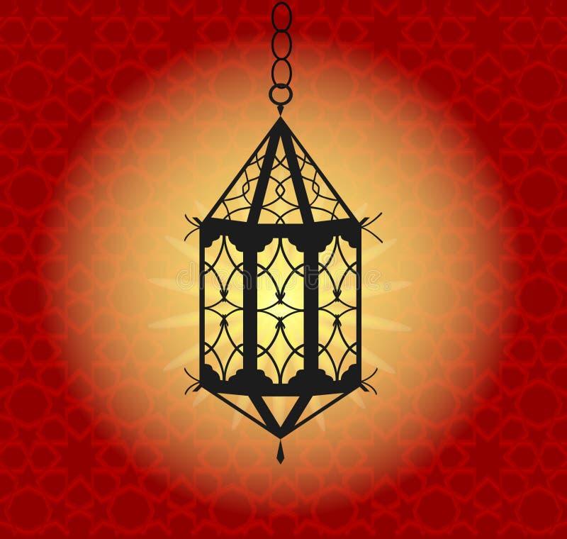 Wiszący kolorowy Arabski lampion dla świętego miesiąca Muzułmańska społeczność Błyszczącego powitania Islamska lampa dla Ramadan  royalty ilustracja