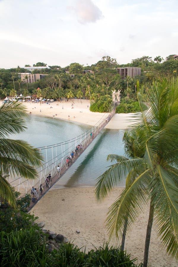 Wiszący most na Sentosa wyspie, Singapur zdjęcie stock