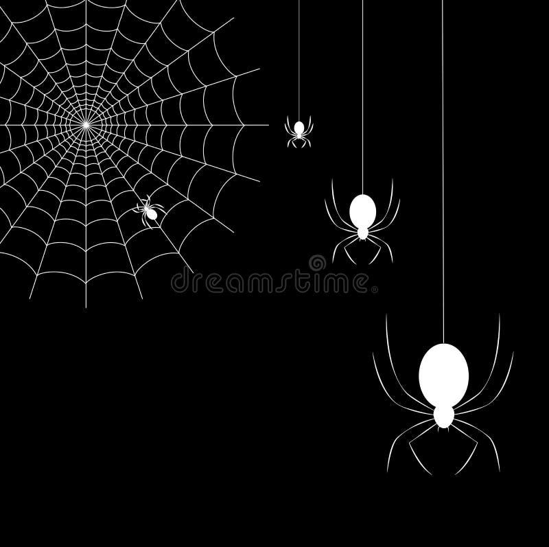 Wiszący pająki i pająk sieć na czarnym tle ilustracja wektor