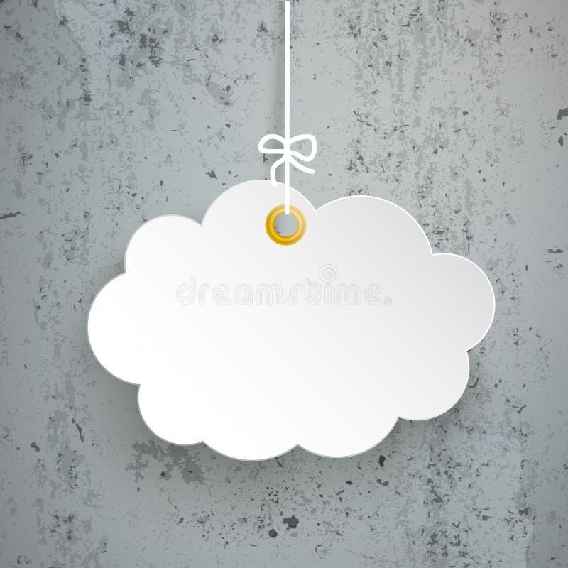 Wiszący papier chmury beton ilustracja wektor