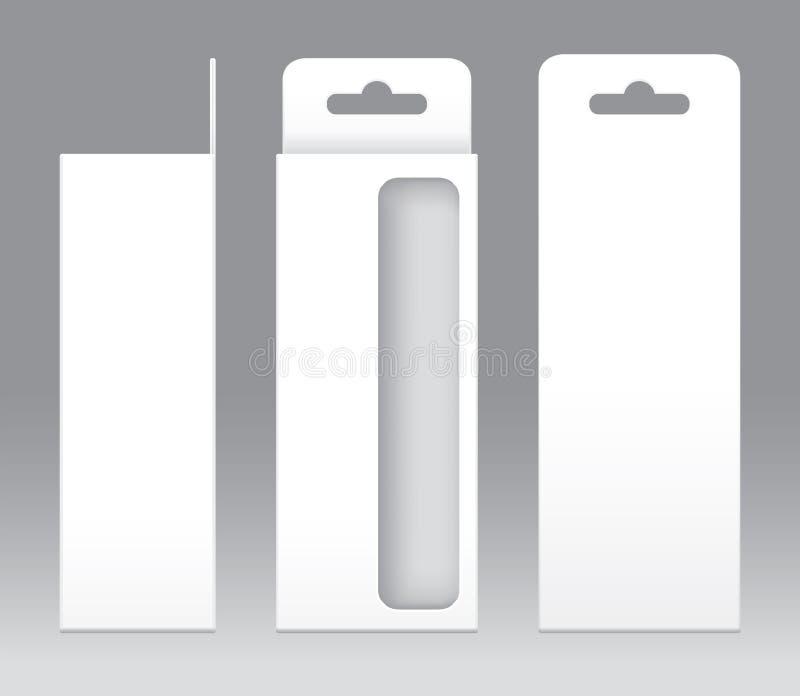 Wiszący Pudełkowaty Biały nadokienny kształt ciie out Pakować szablonu puste miejsce Pusty Pudełkowaty biały szablon dla projekta ilustracji