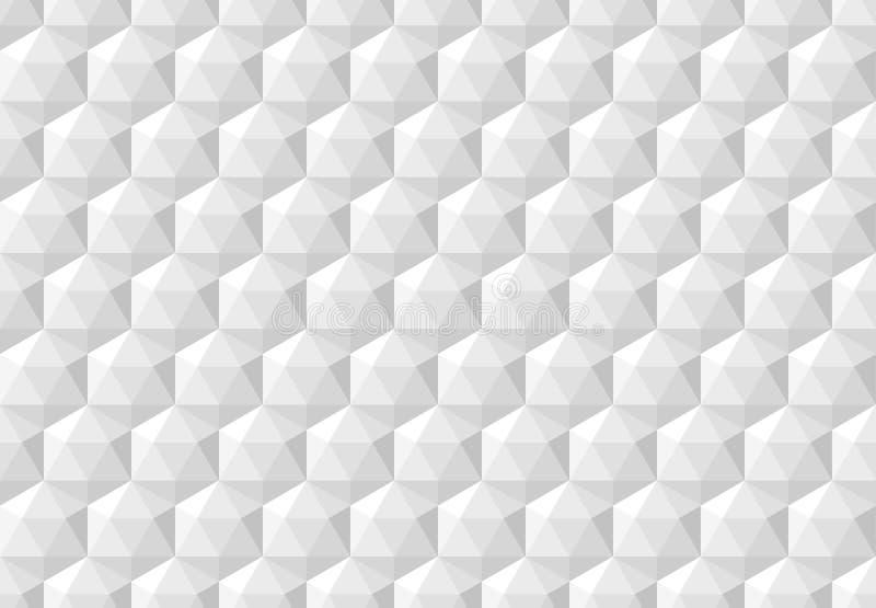 Wit abstract naadloos patroon met geometrische hexagonale kubussen royalty-vrije illustratie