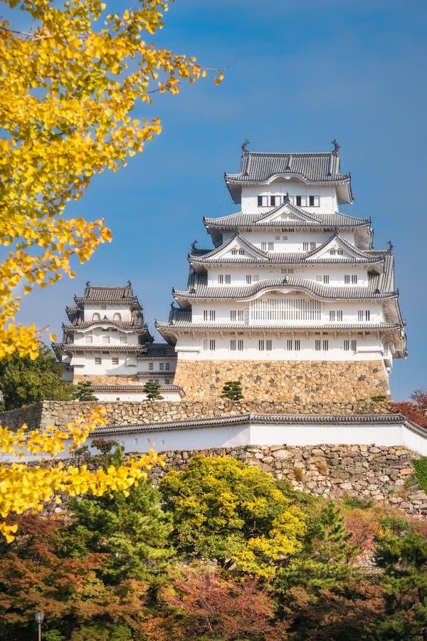 Wit Aigrettekasteel in Himeji, Japan in de herfst royalty-vrije stock foto