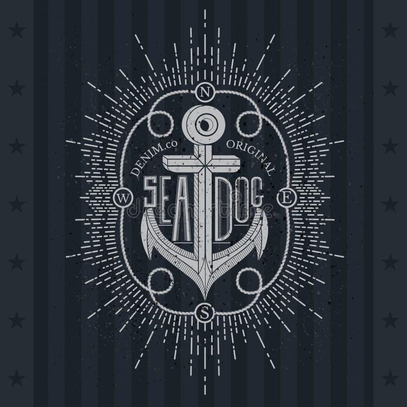 Wit Anker op Bord Uitstekend Etiket, Grunge-Achtergrond vector illustratie