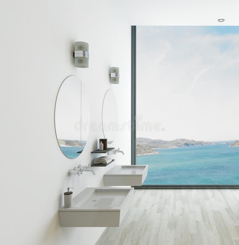 Wit badkamersbinnenland met dubbel bassin royalty-vrije illustratie