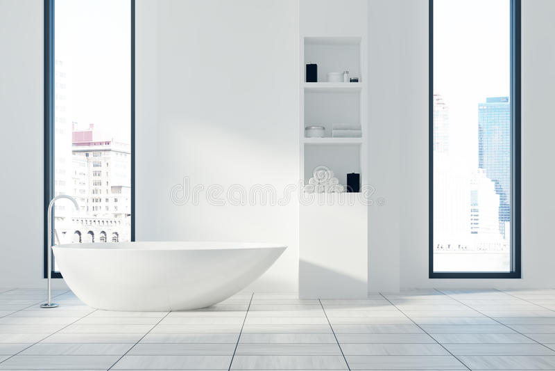 Wit badkamersbinnenland, ton en planken royalty-vrije illustratie