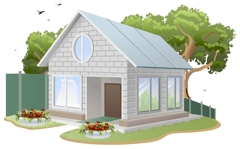 Wit baksteenhuis Het plattelandshuisje van het land, boom, bloembedden, omheining royalty-vrije illustratie