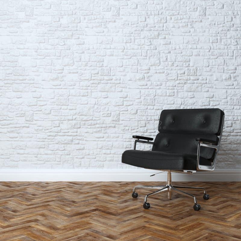 Wit Bakstenen muurbinnenland met de Zwarte Leunstoel van het Leerbureau royalty-vrije stock foto