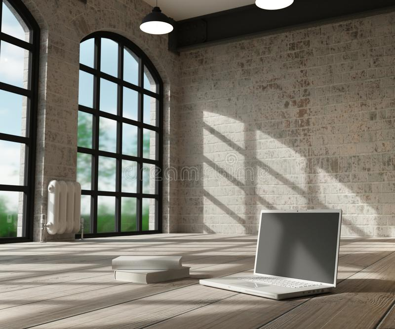Wit binnenland en computer royalty-vrije illustratie