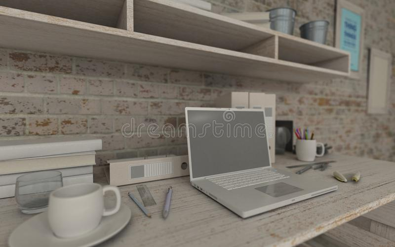 Wit binnenlands bureau en boekenrek stock illustratie