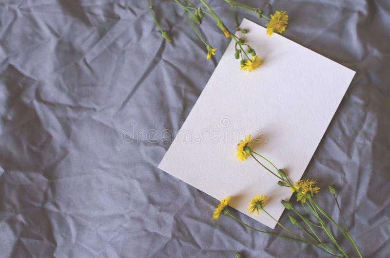 Wit blad op een grijze stoffenachtergrond met gele bloemen stock fotografie