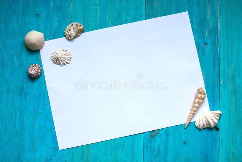 Wit blad van document (ruimte voor tekst), zeeschelpen, blauw hout royalty-vrije stock foto's