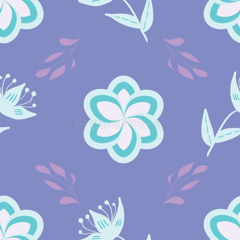 Wit, blauw en lavander stileerde bloemen en de bladeren op mauve naadloze achtergrond herhalen vector illustratie