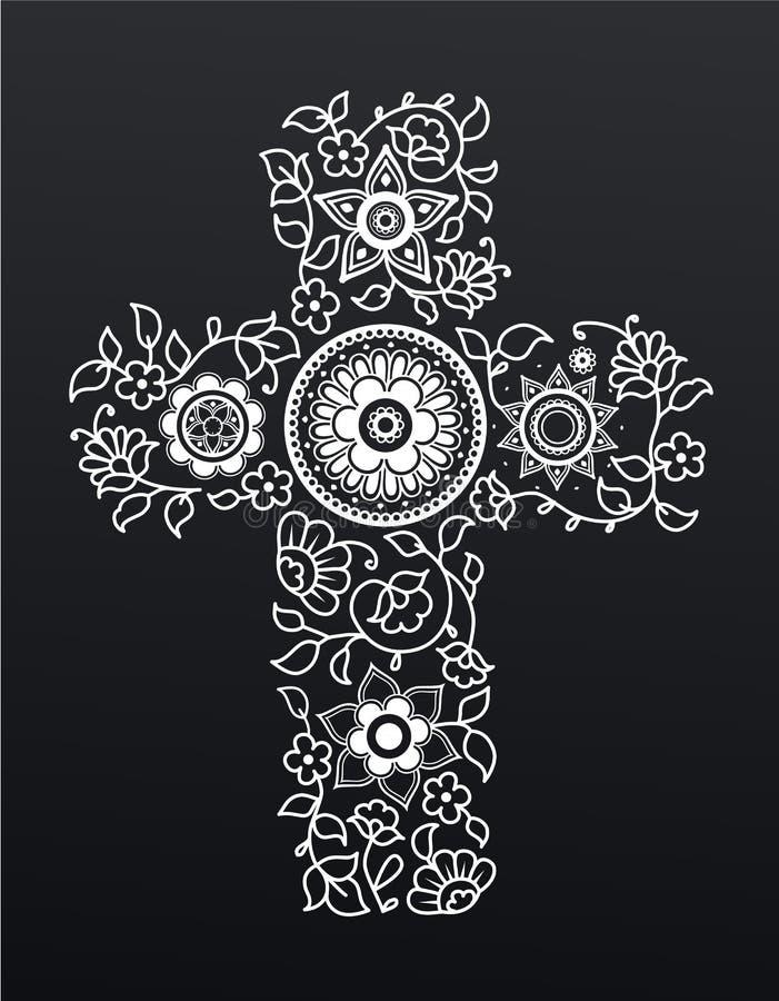 Wit bloemenchristendomkruis op zwarte achtergrond vector illustratie