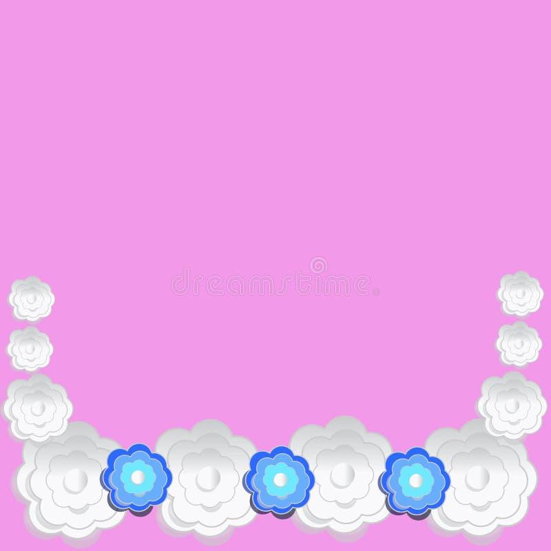 Wit bloemendocument op roze voor achtergrond vector illustratie