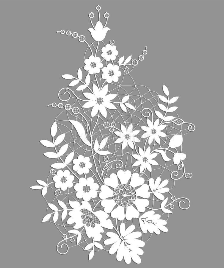 Wit Bloemenkant royalty-vrije illustratie