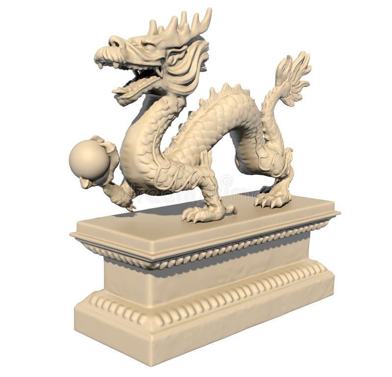 Wit Chinees draakstandbeeld dat een bal houdt royalty-vrije illustratie