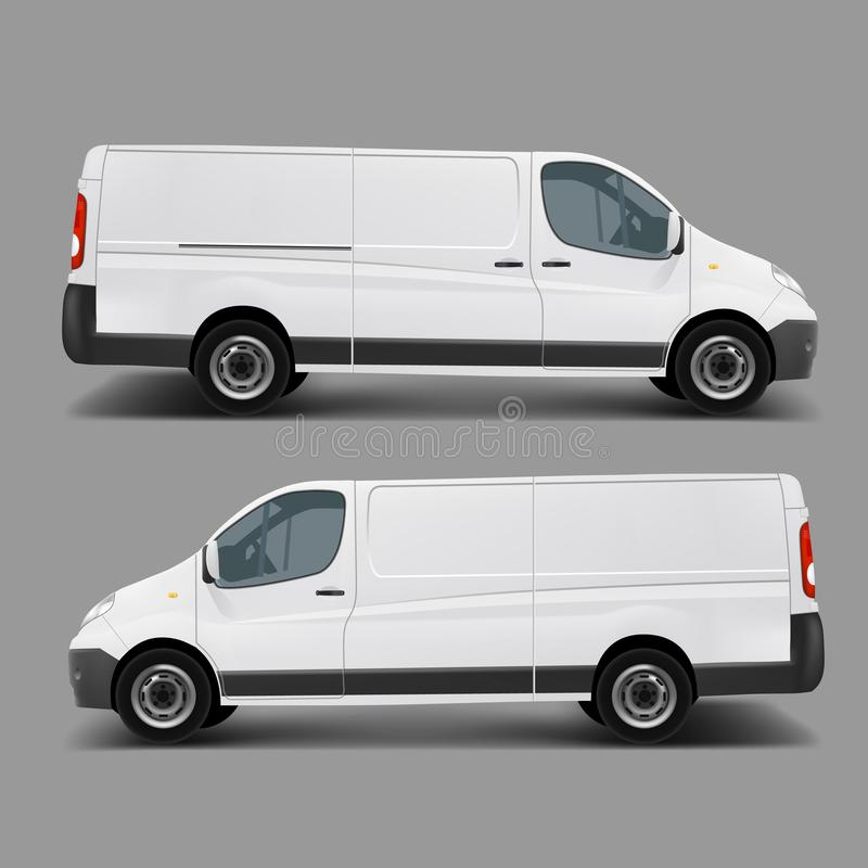 Wit commercieel ladings minivan vectormalplaatje vector illustratie