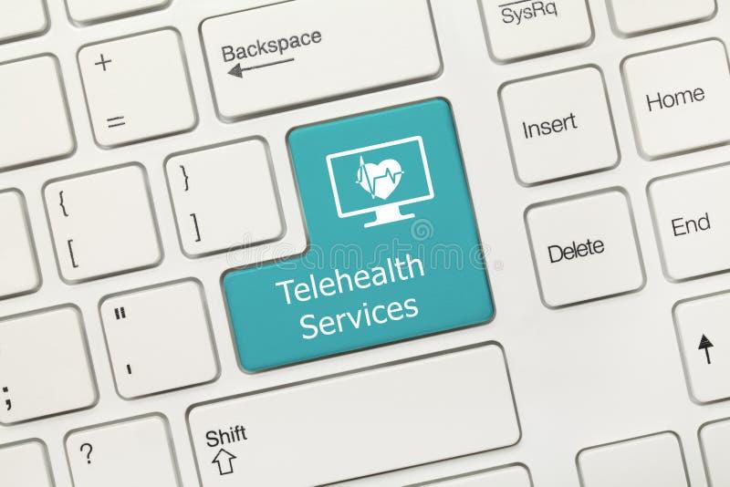 Wit conceptueel toetsenbord - Telehealth-de Diensten blauwe sleutel royalty-vrije stock afbeelding