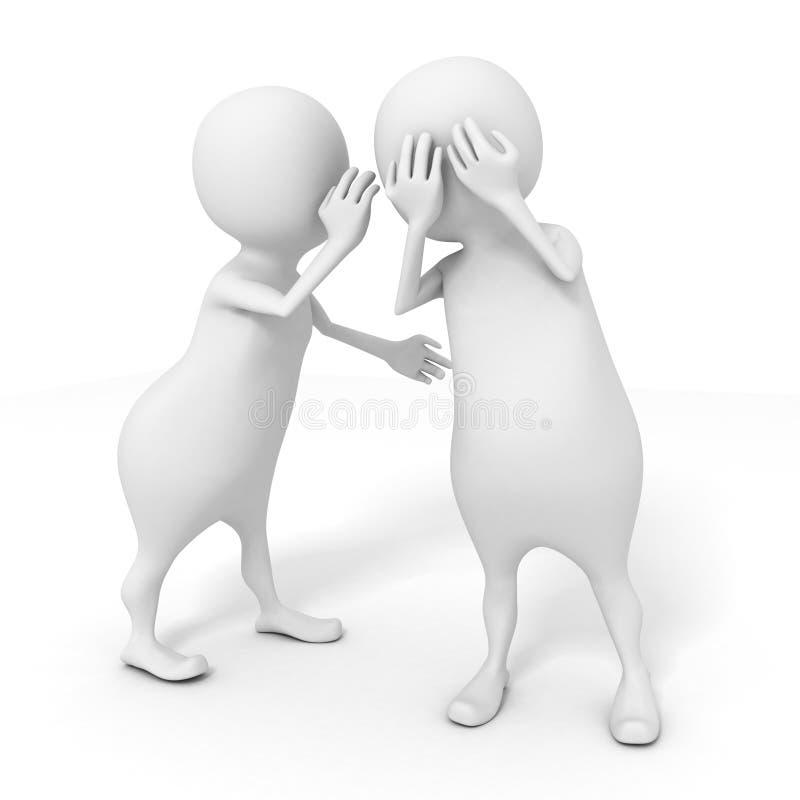Wit 3d mens het fluisteren geheim aan een andere persoon royalty-vrije illustratie